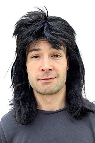 WIG ME UP - 20781-P103 Perücke Fasching Proll Assi Schwarz Vokuhila NEU Wig