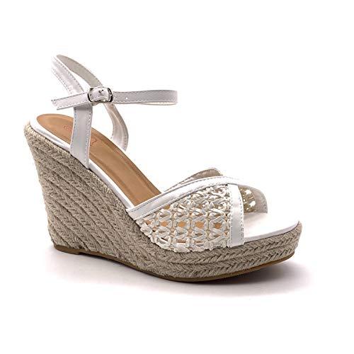 Angkorly - Damen Schuhe Sandalen Pumpe - High Heels - Böhmen - Lässig - mit Stroh - Geflochten - Perforiert Keilabsatz high Heel 11 cm - Weiß 072-2 T 39