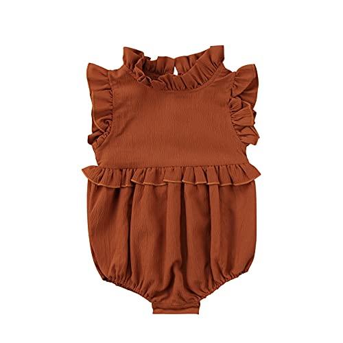 TMEOG Bodies para bebés, Monos para bebés niña, Mameluco Bebe niña pequeña recién Nacido Mono Body Ropa bebés-niñas (12-18 Monate, Marrón)