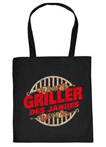 Stofftasche mit Grill Motiv - Griller des Jahres. Grillrost, Schaschlik - Einkaufstasche, Geschenk, Grilltasche, Umhngetasche - schwarz