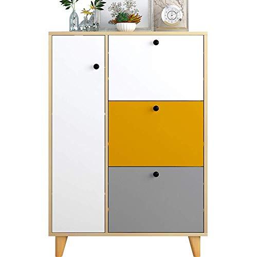 BXU-BG Zapatero europeo con patas de madera maciza, para puerta de entrada, sala de estar, armario multifunción, fácil de montar (color: natural, tamaño: 80 x 20 x 114,3 cm)