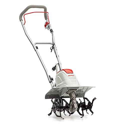 IKRA 70300910 Elektro Bodenhacke Kultivator FEM1500, Flexible Arbeitsbreite 17-45cm, Arbeitstiefe bis 23cm, 1500 W, 230 V, Rot/Weiß/Grau/Schwarz