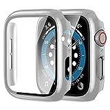 【2枚】Yoarmyt watch ケース40mm 44mm 強化ガラス画面カバー PC series6/SE/5/4対応 シルバー
