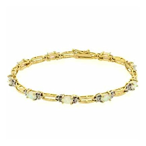 Edles Armband mit weißem Opal und Diamant Akzenten, 24 Karat Gold Vermeil