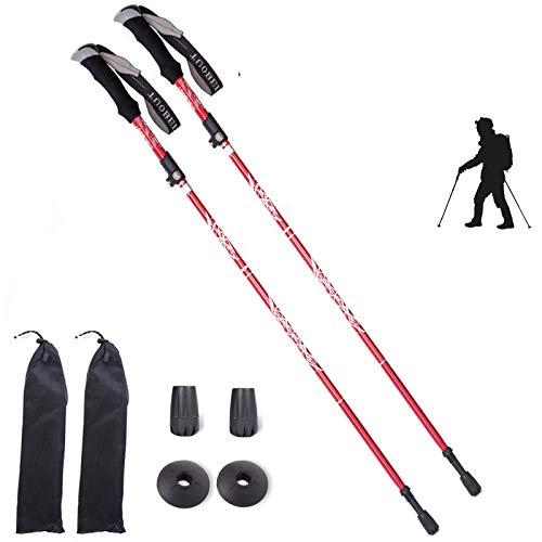 Olanda 5-sektioner vandringsstavar set lätt hopfällbar justerbar aluminium teleskopisk vandring skidstång med EVA-grepp nordiska promenadkäppar par vandringsväskor för kvinnor män seniorer (röd)