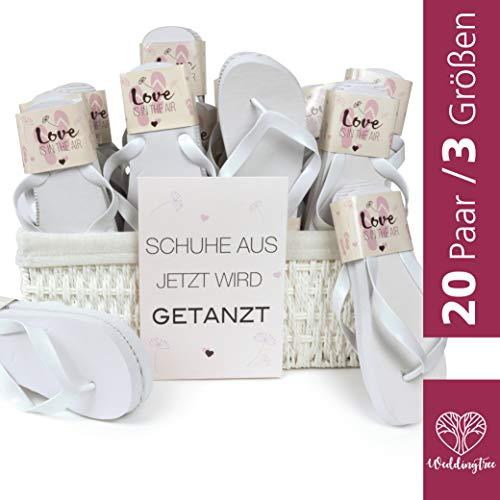 WeddingTree Flip Flops Damen weiß - Für Hochzeit Gäste Party - 20 Paare - 4 x S 12 x M 4 x L - Weidenkorb weiß innen Baumwolle