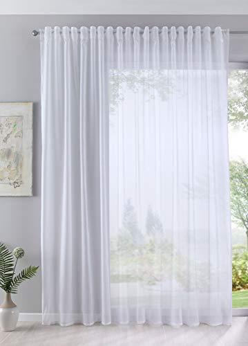 Gardine Store Batist Cotton Look transparent verdeckte Schlaufen Universalband 245x140 Weiß, 61500