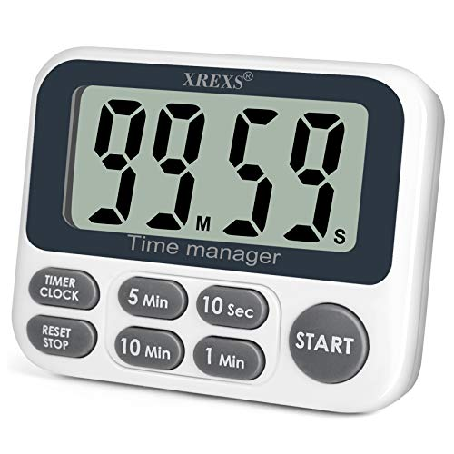 XREXS Digital Kitchen Timer, Magnetic Countdown Up Cooking Timer Clock with Large LCD Display, Adjustable Volume, Loud Alarm & Strong Magnet Classroom Timer for Teachers (Batteries Included)