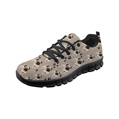 HUGS IDEA Frauen Casual Sneakers Tennis Walking Leichte Bequeme sportliche Wandern Klettern Jogging Schöne Mops Hund Muster Laufschuhe-Größe: EU 41