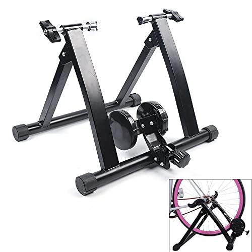 Futchoy Rueda de entrenamiento plegable para bicicleta de 24 a 27 pulgadas, para interior, con freno magnético, plataforma de entrenamiento para montar a caballo, ejercicio silencioso
