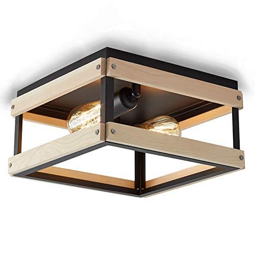 ENCOFT Iluminación de Techo de Interior en Metal y Madera, Lámpara de Techo Industrial Cuadrado con 2 Luz Base E27, Luz de Techo para Dormitorio Sala de Estar Comedor, Negro Sin Bombilla