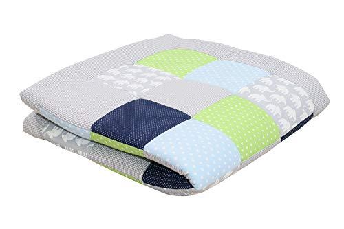 Alfombra para gatear de ULLENBOOM ® con elefantes azul verde (manta para bebé de 140x140 cm; ideal como colcha para el cochecito; apta como alfombra de juegos)