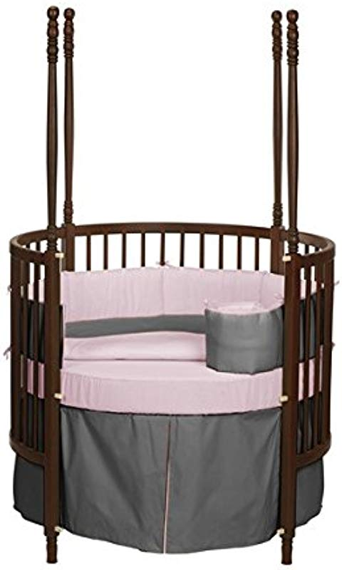 Baby Doll Bedding Solid Reversible Round Crib Bedding Set Grey Pink