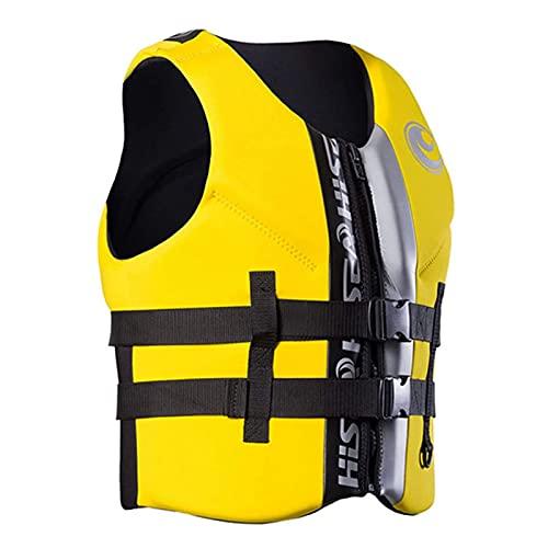 Sysrqcer Chaleco de Edad Adulto Chaleco de Neopreno Vida de Seguridad de Neopreno for Agua Ski Wakeboard Natación Pesca Chaleco Salvavidas for la navegación Kayak (Color : Yellow, Size : XS)