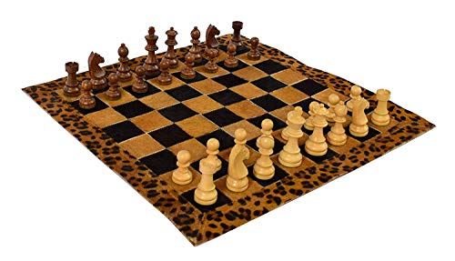 """Wigano 19""""X19"""" Vintage Genuine Hair On Leather Tournament Chess Set with 3.5"""" King Size Wooden Heavy Chess Pieces & Roll-Up Leather Chess Board Best One for Gifting"""