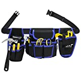 Heavy Duty Construction Tool Belt,Work Utility Tool Pouch Bag with Belt Buckle for Carpenter...