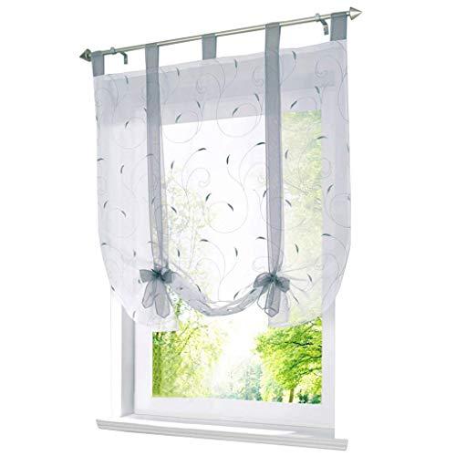 ESLIR Raffrollo mit Schlaufen Raffgardinen Gardinen Küche Bindegardine Transparent Schlaufenrollo Vorhänge mit Stickerei Modern Voile Silber BxH 120x140cm 1 Stück