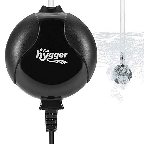 hygger Quiet Mini Air Pump for Aquarium 1.5 Watt Oxygen Fish Air Pump for 1-15 Gallon Fish Tank with Accessories Black