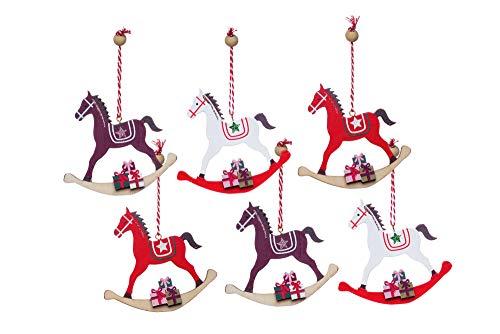 Heitmann Deco Albero di Natale – Gioielli – Cavallo a dondolo – Legno – Ciondoli – Set – Decorazione – Naturale – Bordeaux, Rosso, Bianco – ca. 11,5 x 11 cm