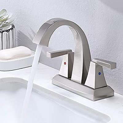 VESLA HOME Modern Solid Brass 2 Handles 2 Holes 4 Inch Centerset Brushed Nickel Bathroom Faucet,Lavatory Vanity Bathroom Sink Faucet with Water Supply Lines.