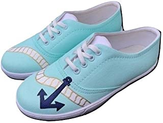 FUNKY N TRENDY Anchor Theme Mint Handpainted Waterproof Women's Canvas Casual Shoes