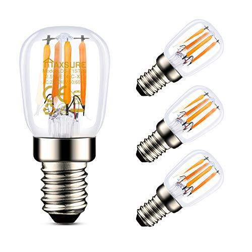 Maxsure Lampadina LED E14 2.5W [4 Pezzi], Lampadina Frigorifero, Lampadine E14 Luce Calda 2700k, Lampadina E14 Cappa, 260 LM, Frigoriferi, Cappa, Lampada da Parete, Lampada da Tavolo