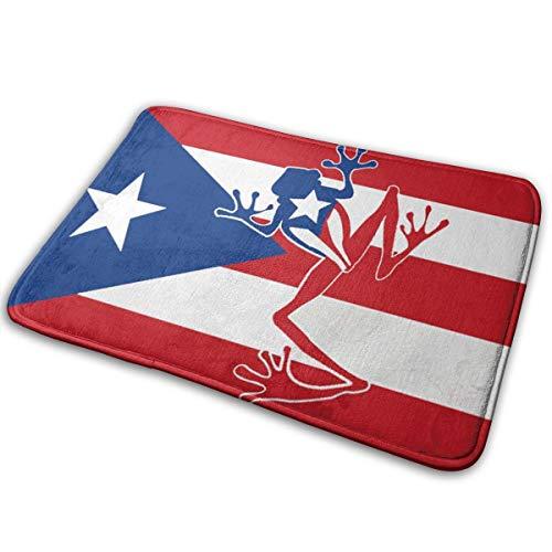 TS HOME ART Puerto Rican Flag with Frog Carpets Floor Door Mat Indoor/Outdoor Area Rugs Garden Office Door Mat - Kitchen Dining Living Bathroom Pet Cat Dog Feeding Mat Pad Entry Rugs