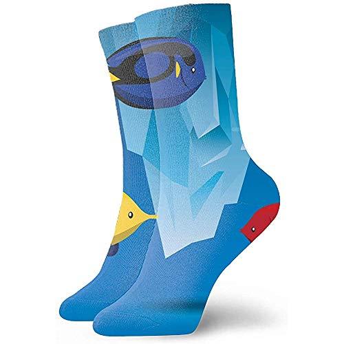 Dydan Tne Unisex-Socken Digitaldruck Tropical Fish and Iceberg-Symbol Sea Life Casual Sport Stocking Cotton
