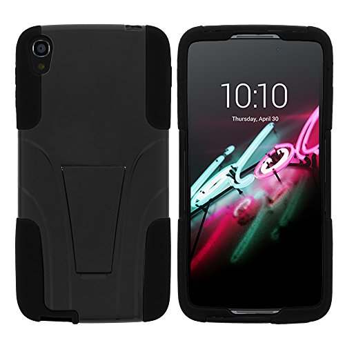 TurtleArmor | Compatible with Alcatel One Touch Idol 3 Case (5.5) [Gel Max] High Impact Proof Kickstand Case Silicone Hard Cover Combo Music - Black