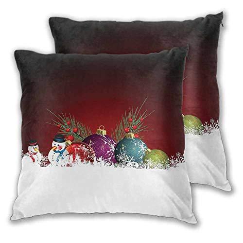 Xlcsomf - Juego de 2 fundas de almohada cuadradas decorativas de Navidad, 50 x 20 cm, diseño de Navidad con muñeco de nieve con bufanda y sombrero, para sofá, dormitorio, coche, decoración de Navidad