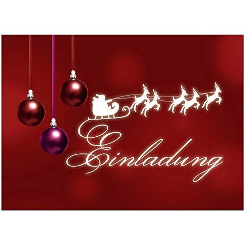 15 x Einladungskarten mit Umschlag zur Weihnachtsfeier/Motiv: Rote Weihnachtskugeln/Weihnachten/Christmas Party/Einladung/für Firmen