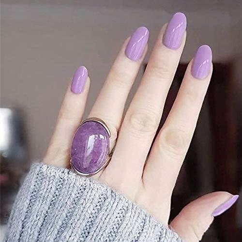 CLOAAE French Romantic Lavender Purple Solid Color False Nails 24 Bridal Full Nail Tips Medium Long Code False Nails Lady