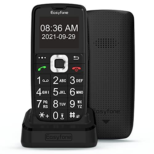 Easyfone Prime-A6 gsm Teléfono Movil para Personas Mayores con Teclas Grandes, Audífonos Compatibles, SOS Botones, Batería de 1050 mAh, Base de Carga (Negro)