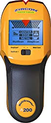 "Zircon Stud Finder A200 Pro/DIY 3 in 1 MultiScanner; Stud/DeepScan Modes Detect Edges/Center of Wood/Metal Studs to 1 ½"" Metal Mode Lath & Plaster Alerts Presence of Live, Unshielded AC US Model"