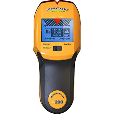 Zircon MultiScanner A200 Electronic Wall Scanner / Center Finding and Edge Finding Stud Finder / Metal Detector / Live AC Wire Detection