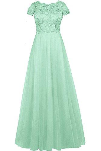 TopKleid damska elegancka różowa okrągła koronka tuell suknia wieczorowa długa sukienka dla matki z krótkim rękawem