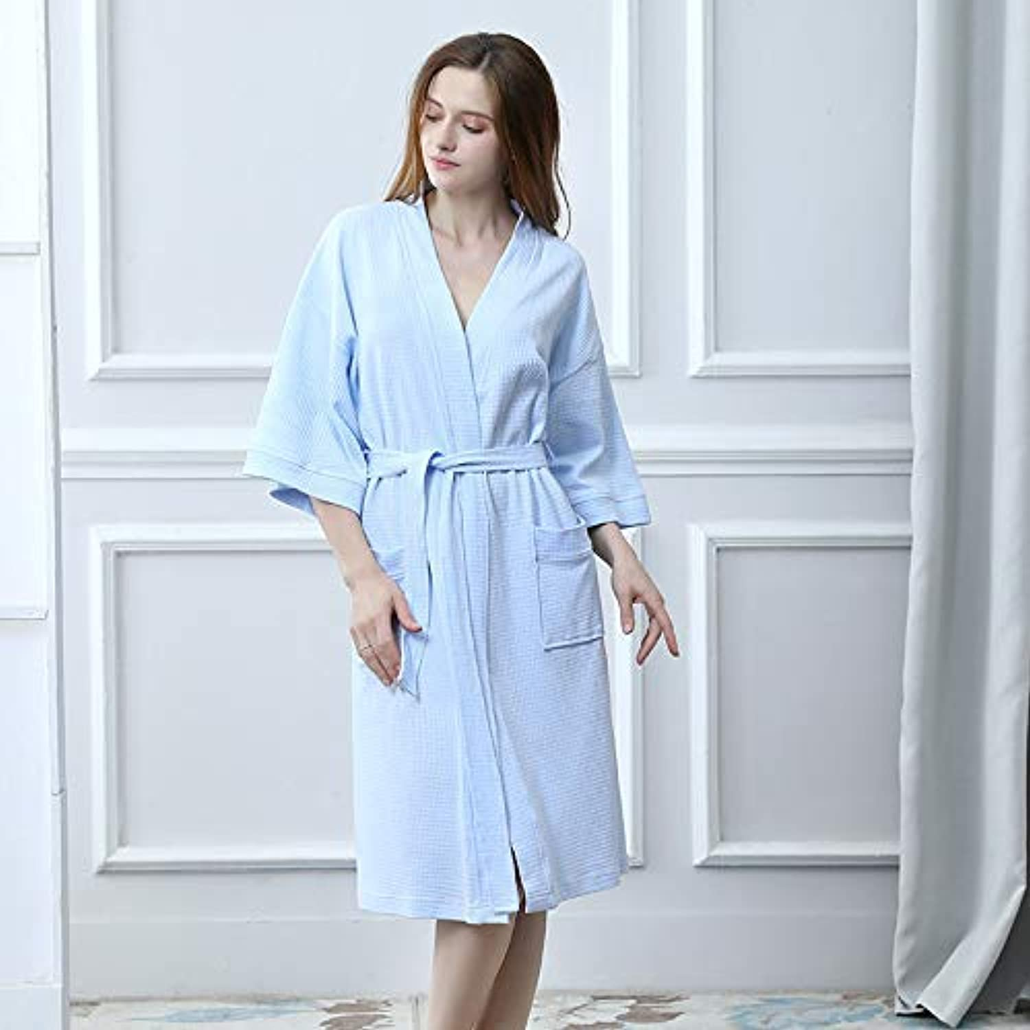 DALAI Summer Pajamas Women's Thin Cardigan Nightgowns Cotton Casual Comfort Bathrobes (color   Sky bluee, Size   XL) (color   Sky bluee, Size   XL)