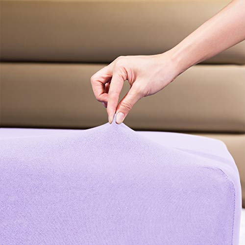 """Fitted Sheet- COSMOPLUS Queen Fitted Sheet Only(No Flat Sheet or Pillow Shams),4 Way Stretch Micro-Knit,Snug Fit,Wrinkle Free,for Standard Mattress and Air Bed Mattress from 8"""" Up to 14"""",Lavender"""