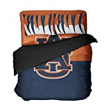 4PCS Auburn Football Bed Set University Bedding Queen Sheet Sets Dark Blue Orange Patchwork Duvet Cover Tiger Stripes Pillow Covers for Teens
