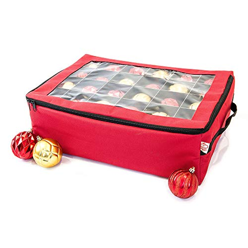 [Red Christmas Ornament Storage Box With Dividers] - (Holds 48 Ornaments up to 3 Inches in Diameter)   Acid-Free Removable Trays with Separators   Clear Window to Easily See Storage Bags Contents