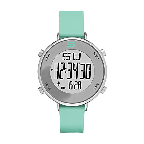Skechers Women's Magnolia Quartz Metal and Silicone Digital Watch Color: Silver, Mint Green, 18 (Model: SR6070)