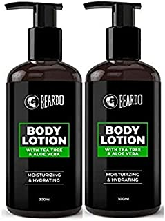 Beardo Body Lotion With Aloe Vera & Tea Tree Oil For Hydrating & Moisturizing, 300 m (Pack of 2)