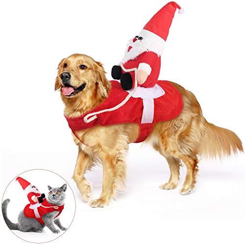 KATELUO Disfraz Gato de Navidad, Perro Ropa Navidad, Disfraz de Navidad para Mascotas, Disfraz Navidad Perro con Papá Noel Montado en Mascota Gato Perro Abrigo Rojo (M)