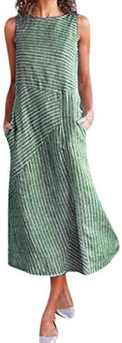Sukienki damskie bez rękawów luźne wygodne lniane duże rozmiary sukienki letnie moda w kratkę na co dzień letnie sukienki