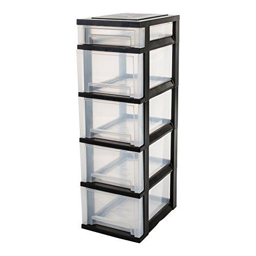 Iris Ohyama, torre de almacenamiento con 5 cajones sobre ruedas - Smart Drawer Chest - SDC-314, plástico, negro / transparente, 71 L, 29 x 39 x 92 cm