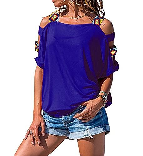 Camiseta Mujer Sexy Chic Verano Cuello Redondo Manga Corta Top Mujer Exquisito Fuera del Hombro Simplicidad Moda Casual Cómodo All-Match T-Shirt Mujer E-Blue XXL