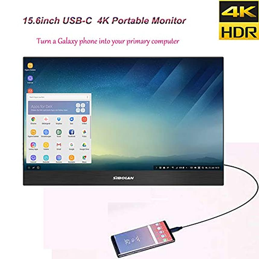 S19b High-end 15.6 inch 4K 3840×2160 HDR Portable Monitor with USB-C x 2 / Mini HDMI x 2 / Headphone Ports, Only One Type-C USB-C Connection for Video and Power Transmission.