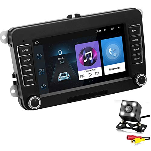 GOFORJUMP 2 DIN Android 7'GPS Navigatore per Auto Radio Stereo Media Player per Bora Golf VW Polo Volkswagen Passat B6 B7 Touran con Telecamera Posteriore