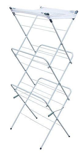 MSV Wäscheturm Wäscheständer Wäschetrockner 14m - 3 Ebenen - Wäsche Standtrockner Trockenständer für Innen Außen Schlafzimmer Balkon Bad Camping klappbar platzsparend