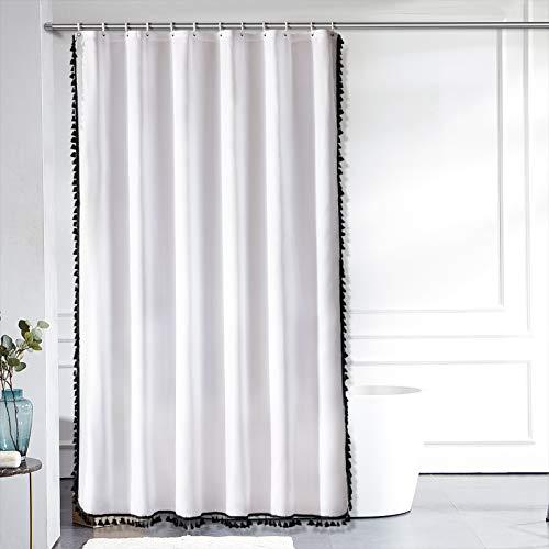 Furlinic Duschvorhang Überlänge 200x240 in Weiß Badvorhang für Badewanne und Bad Wasserdicht Waschbar Anti-shcimmel mit Schwarzen Quaster mit 12 Duschringen.